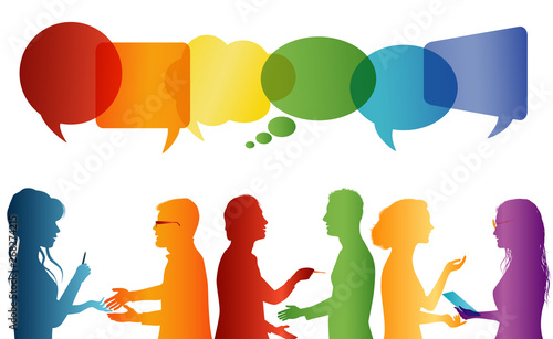Fototapety, obrazy: Communication between large group of people who talk. Crowd talking. Communicate social networking. Dialogue between people. Multicolored profile silhouette. Speech bubble