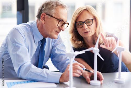 Obraz na plátně  Business couple having consultations about wind energy