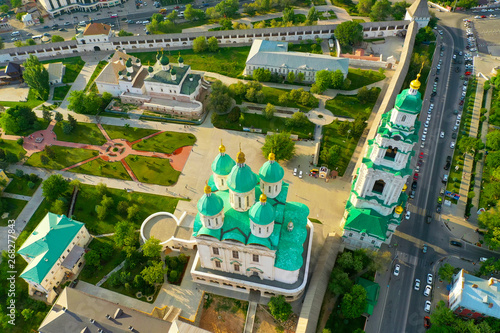 Aerial view of the Astrakhan Kremlin, historical and architectural complex Canvas Print