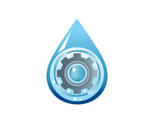 Blue Liquid Drop And Silver Gear Clog Logo In Isolated White Background