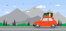Travel By Car. Road Trip. Time To Travel, Tourism, Summer Holiday. Flat Design Vector Illustration