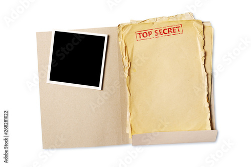 Folder with top secret old yellowed paper and mockup for vintage photo Canvas Print