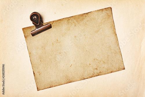 Fototapeta Blank old yellowed paper mockup for vintage photo or postcard
