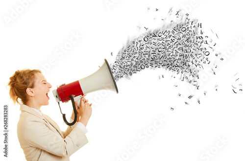 Geschäftsfrau ruft in Megafon mit Buchstaben Wallpaper Mural
