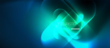 Blue Neon Round Shapes Techno Background