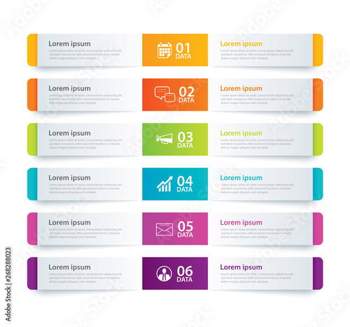 Fototapeta Infographics tab in horizontal paper index with 6 data template. Vector illustration abstract background. Can be used for workflow layout, business step, banner, web design. obraz