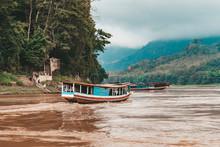 Tourist Ship River Mekong On Laos Travelling To Lunag Prabang