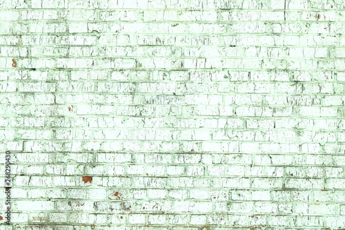 Fototapeta old shabby wall of green brick color as  abstract background in loft style obraz