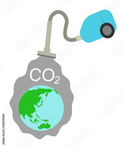地球から二酸化炭素を吸い取る掃除機 Canvas Print