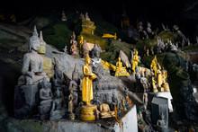 Pak Ou Cave On Mekong River Near Luang Prabang, Laos... Cave Of 5000 Buddhas