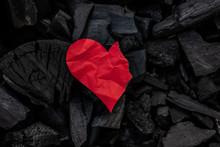 Burning Red Paper Heart On Coa...