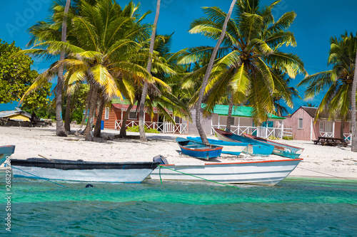 Photo Stands Caribbean Dominican Republic, Saona Island - Mano Juan Beach. Fishermen's village