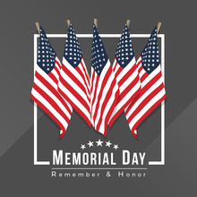 Memorial Day For Usa Banner With Group Of Usa Flags In White Frame On Gray Background Vector Design