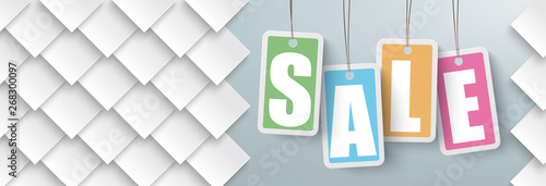 Tuinposter Hoogte schaal Rhombus Shapes Price Stickers Sale Header