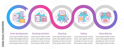 Valokuvatapetti Video production process vector infographic template