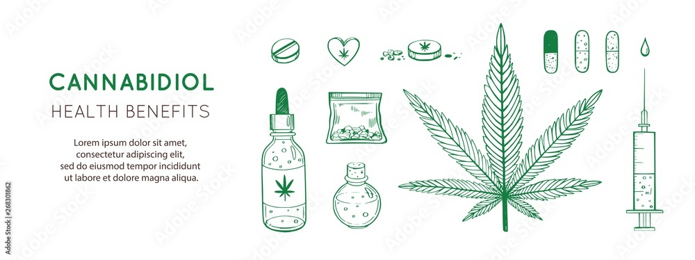 Fototapety, obrazy: Cannabidiol Health benefits Vector background, banner. Hand drawn Infographic set of medical Cannabis, marijuana. Pills, bottles, oil and other medicinal cannabis symbols