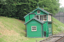 A Traditional Green Wooden Railway Signal Box.