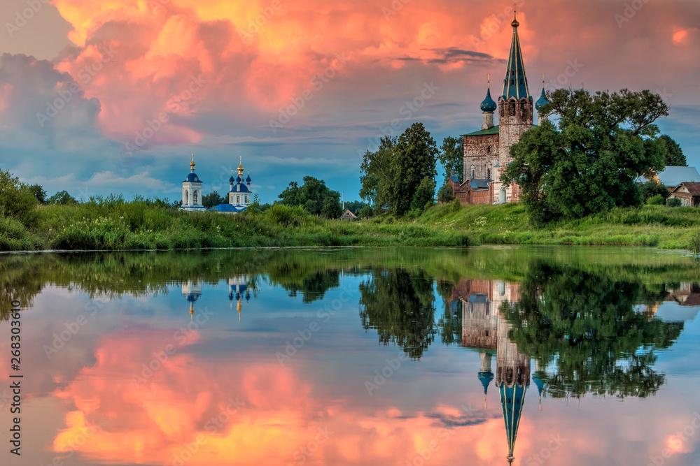 Fototapeta The Annunciation Monastery.Shuysky district, Dunilovo village. Ivanovo region. Russia. gold ring of Russia