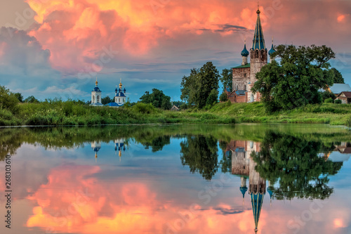 Photo Stands Salmon The Annunciation Monastery.Shuysky district, Dunilovo village. Ivanovo region. Russia. gold ring of Russia