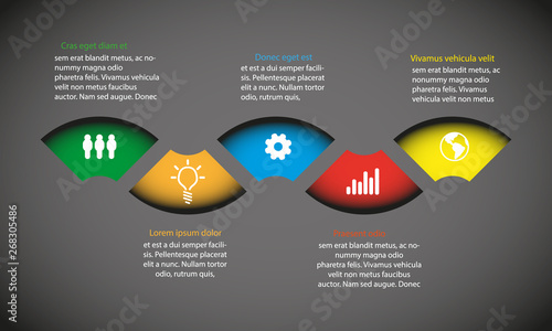 Infographic Template with color round stripe text boxes - Dark version - Vector Wallpaper Mural