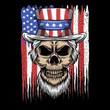 Skull Uncle Sam Usa Flag Vector Illustration