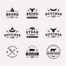 Vintage Bbq / Barbeque Grill Vector Logo Design
