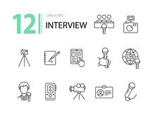 Interview Icons. Line Icons Co...