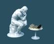Leinwandbild Motiv Sculpture Thinker Pondering The Chess Game On Blue Background