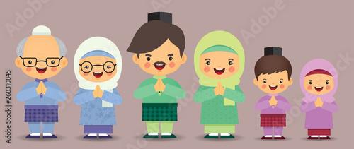 Fotografía  Set of cute cartoon muslim family isolated in flat vector design