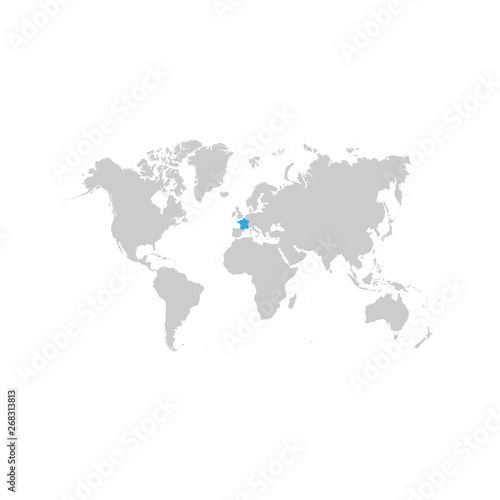 France map is highlighted in blue on the world map – kaufen ...
