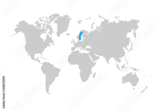 Sweden map is highlighted in blue on the world map – kaufen Sie ...