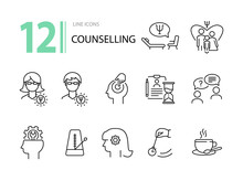 Counselling Line Icon Set. Psi...