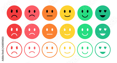 Feedback in form of emotions. User experience. Satisfaction rating. Emoji. Review of consumer.