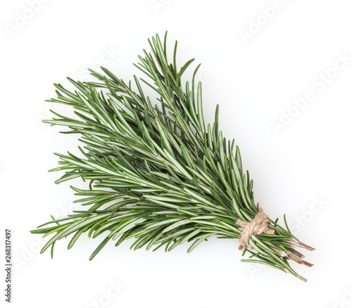 Leinwand Poster Fresh rosemary bunch isolated on white background