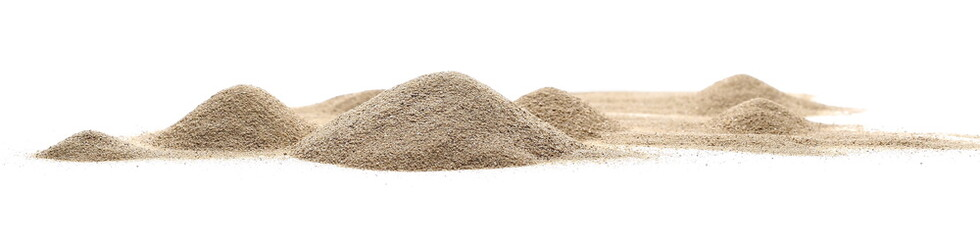 Desert sand pile, dune isolated on white background