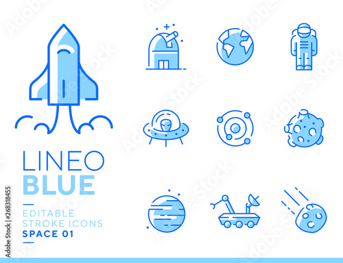 Tuinposter Hoogte schaal Lineo Blue - Space and Planets line icons