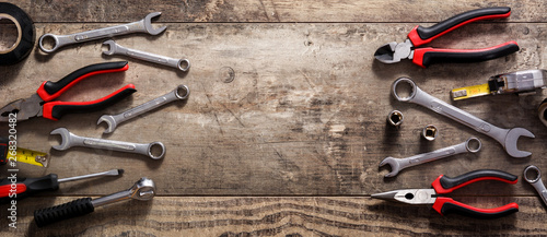 Obraz Building tools repair set on wooden table. Top view. Panorama view. Copyspace - fototapety do salonu