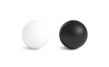 Blank Black And White Stress Ball Mockup, Front View Isolated, 3d Rendering. Clear Empty Stres Reliever Soft Balloon Mock Up Design Template. Clean Antistress Bal. Squeeze It In Your Hands And Soothe.
