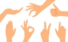 A Set Of Hands In Different Versions. Flat Design.