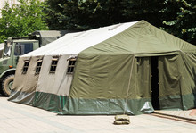 Military Tent And Truck Outdoors
