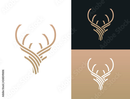 Abstract Deer Head Logo Design. Stylized geometric shape deer logotype. Vector illustration.