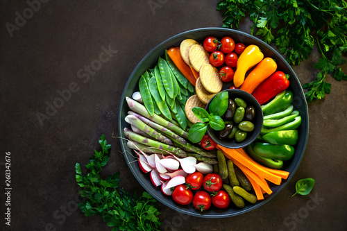Crudites platter, view from above Canvas Print