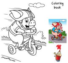 Funny Little Pig Rides A Bike. Coloring Book. Cartoon Vector Illustration