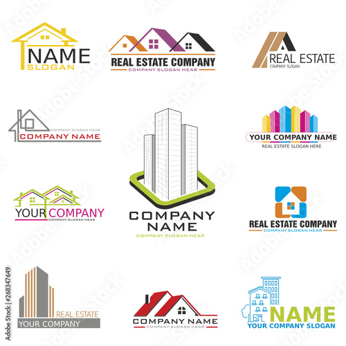 Set of vector logos and banners for real estate  business on white background #268347649