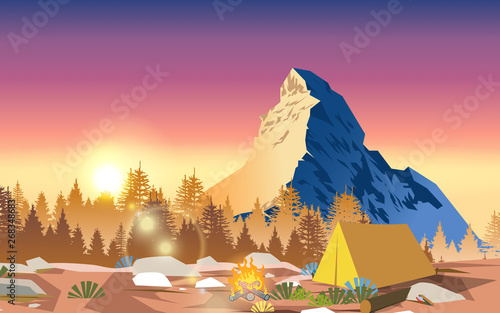 Poster Salmon camping tent with landscape of mountain in morning