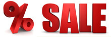 Sale 3d Text Banner Sales Discount Percentage Sign Percent Symbol Savings Red 3d Render Graphic Tag Label Isolated On White Background