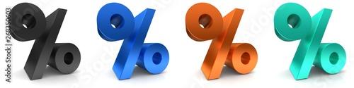 Fotomural percent sign percentage icon per cent symbol 3d rendering black blue orange turq