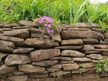 Dry Stacked Rock Stone Wall Wi...