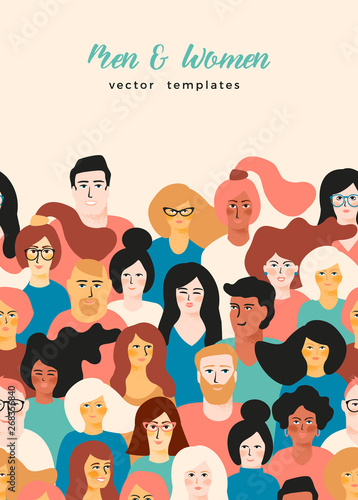 Vector template with young men and women with different skin color. Fototapete