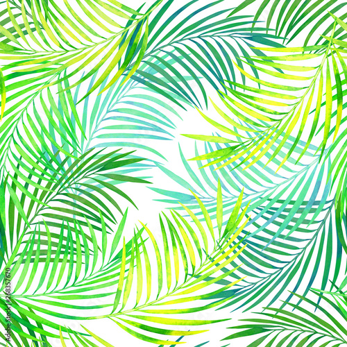 Fotobehang Tropische bladeren seamless tropical pattern of coconut leaves watercolor texture, tropical leaves on a sunny day on a white background.